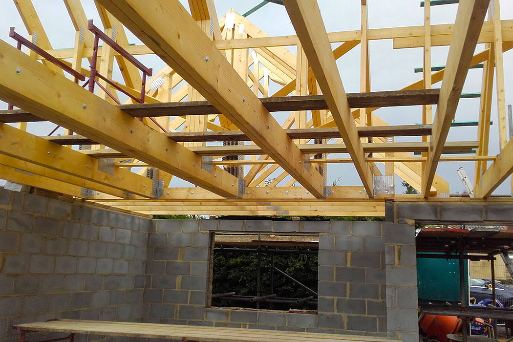 wooden joists, beams for new build property